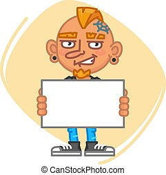 Tattoo Artist Holding Blank Piece of Paper. Vector...