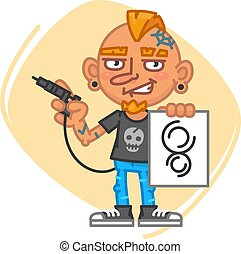 Tattoo Artist Holds Tattoo Machine and Sketch. Vector...