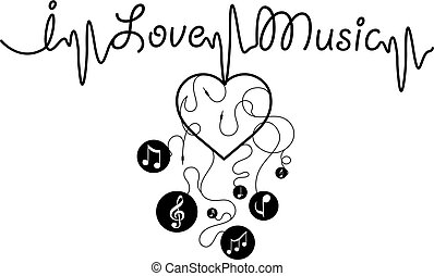I love music - Vector graphic print for t-shirt.