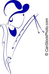 krishna, linha, arte, Ilustração
