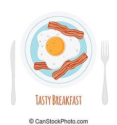 Fried bacon, scrambled egg, tasty breakfast. Cartoon flat style.