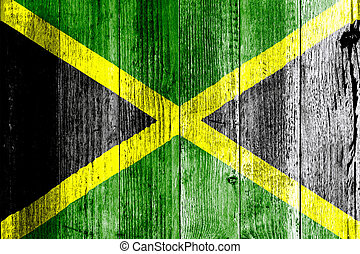 Jamaica Flag Grungy Distressed Board