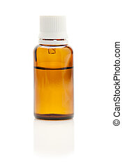 Bottle of medication with dropper over white background