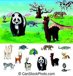Cartoon Asian Wildlife Concept