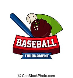 Baseball tournament logo design with ball, bat and leather...