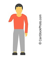 Amputee faceless person without hand vector illustration isolated on white