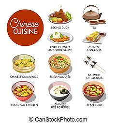 Chinese cuisine menu mockup - Vector illustration of the...