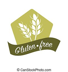 Gluten free substance in cereal grains logo design with wheat