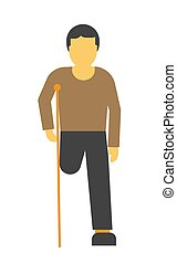 Amputee faceless person on crutches vector illustration...