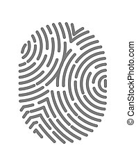 Fingerprint type with circular line signs isolated on white...