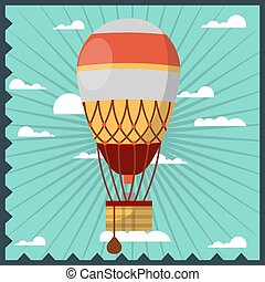 Vintage aerostat in the sky - Vector illustration of the...
