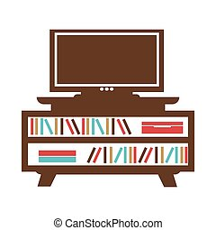Wide-screen TV on small bookcase with colored books or...