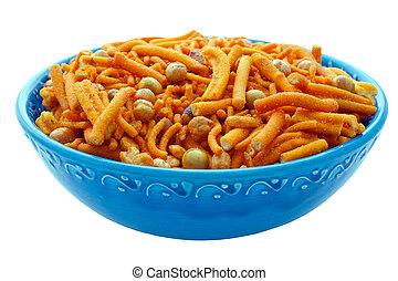 Bombay Mix in Blue Bowl - Spicy chilli Bombay mix in an...
