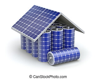 Solar home battery concept - 3D concept with solar panel and...