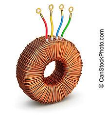 Toroidal transformer - 3D illustration