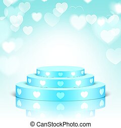 Blue pedestal with white hearts.