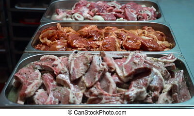Steak with various marinade sauces with spices for grilling...