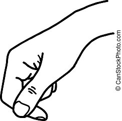 hand holding blank space - vector illustration sketch hand drawn with black lines, isolated on white background