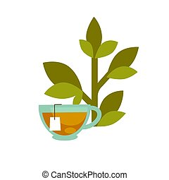Green leaf and a tea cup