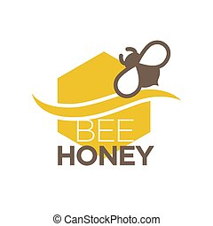 Bee honey logo design with insect isolated. Organic sweet...