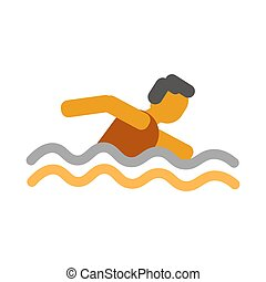 Faceless man swimming in the water vector illustration isolated