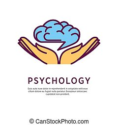 Psychology logo design with open hand palms with human brain...