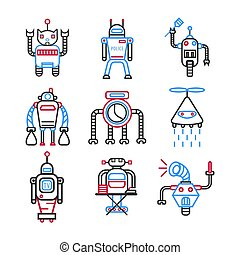 Robots graphic blue collection on white vector picture....