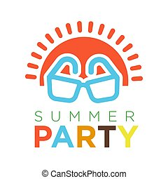 Summer party logotype with red sun and sunglasses vector illustration