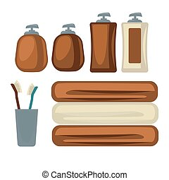 Brown bottles and towels - Vector illustration of the brown...