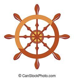 Ship steering wheel - Vector illustration of a vessel...