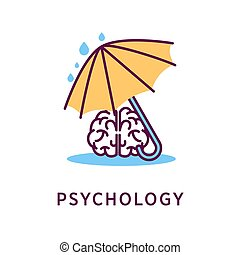 Psychology logo design with human brain under umbrella...