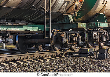 Wheeled pairs of freight wagons of train