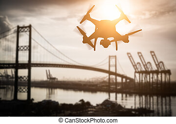 Silhouette of Unmanned Aircraft System (UAV) Quadcopter...
