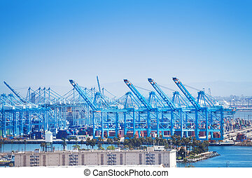 Long Beach shipping and container port with cranes loading...