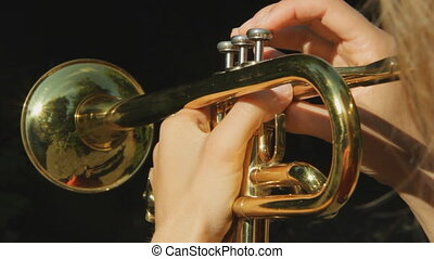 Sunny trumpet. POV. - Female musician playing a trumpet....