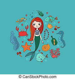 Marine illustrations set. Little cute cartoon mermaid, funny fish, starfish, bottle with a note, algae, various shells and crab. Sea theme.
