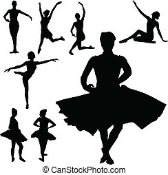ballet girl vector silhouettes