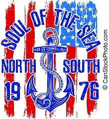 Anchor vintage design with american flag