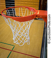 Close up basketball hoop in a university court - Side close...