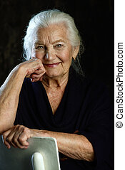 gray-haired smiling woman - Portrait of a beautiful smiling...