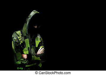 Unknown person in the hood. Danger in darkness. Concept