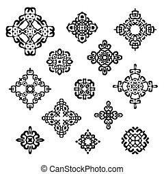 Set of different ethnic signs and design elements. Geometric...