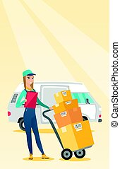 Delivery courier with cardboard boxes. - Caucasian female...