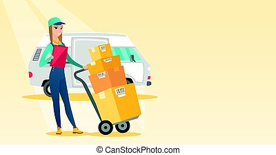 Delivery courier with cardboard boxes. - Caucasian delivery...
