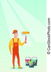 Painter holding paint roller vector illustration. -...
