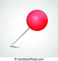 red office pin realistic drawing pin vector