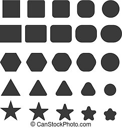 simple geometrical shapes with sharp and round corners set