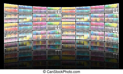Video wall concept made of a lot of different color charts representing LCD or LED TV