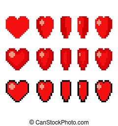 Pixel art heart set - Pixel art heart animation set. 5 frame...