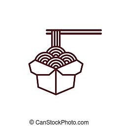 Chinese noodles icon - Chinese noodles in takeout box with...